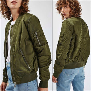 TOPSHOP || Army Green MA1 Bomber Jacket Size 8